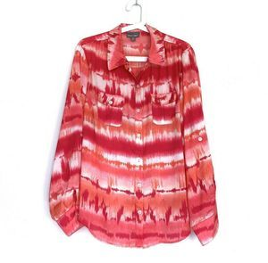 Roz & Ali Pink Tie Dye Long Sleeve Button Blouse
